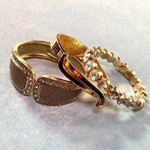 ⭐️2 for $10 3 Gold Tone Rhinestone Cuff Bracelets